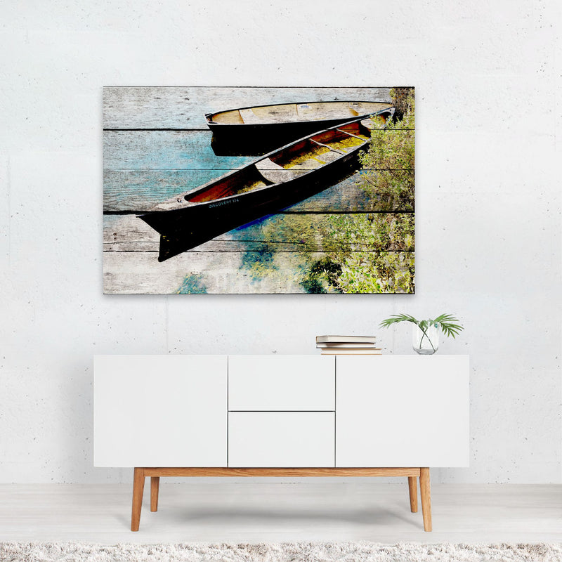 Beach Nautical Boats Mixed Media Art Print