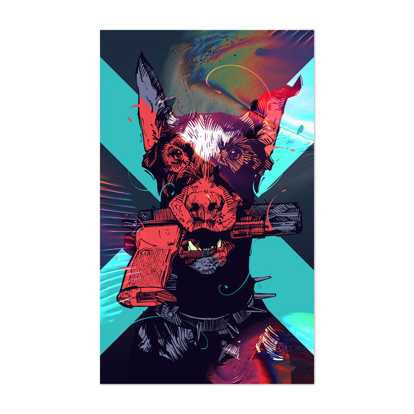 Doberman Pincher Dog Gun Art Print