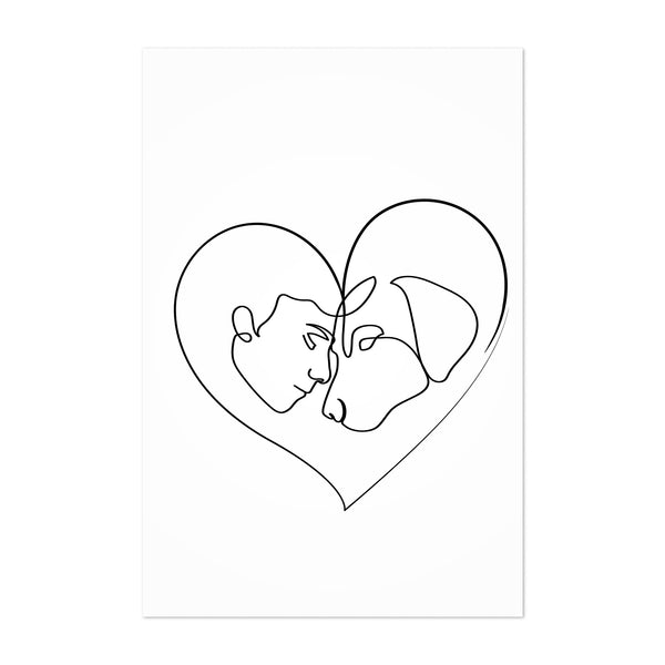 Dog Lover Gift Line Drawing Art Print