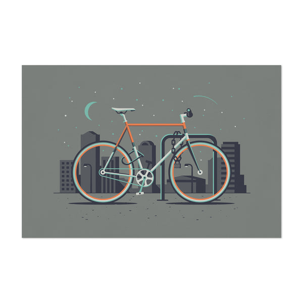 Fixed Gear Bicycle Urban City Minimal Art Print