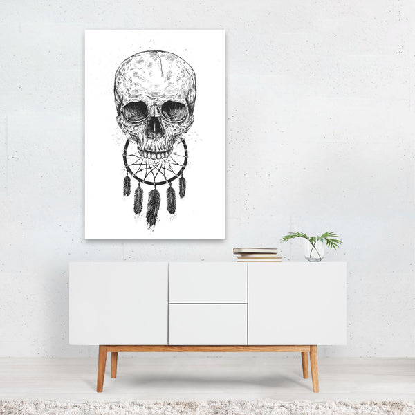 Skull Dreamcatcher Cat Illustration Art Print