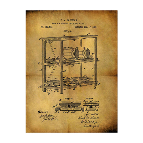 Alcohol Patent Print Whiskey Art Print