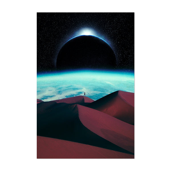 Surrealist Vintage Sand Dunes Space Art Print
