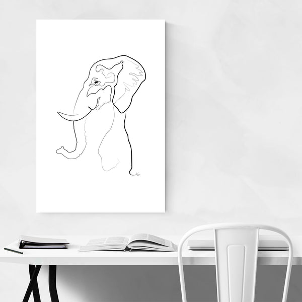 Elephant Animal Line Drawing Art Print