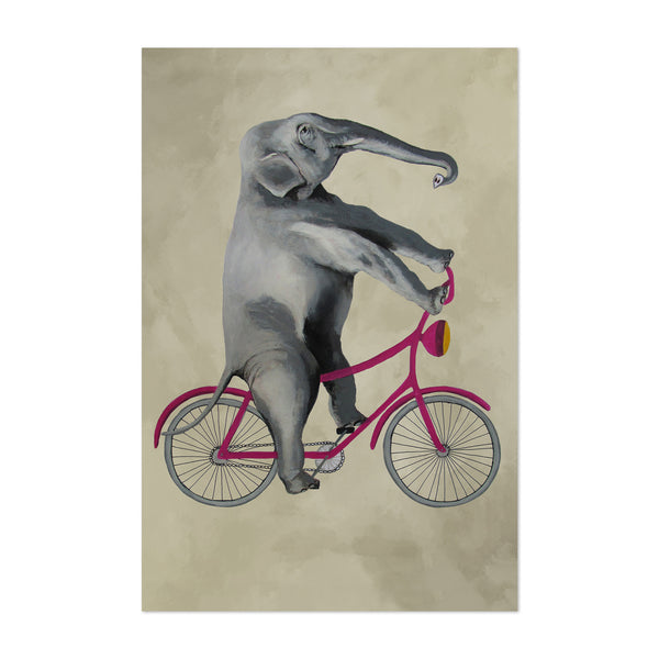 Funny Elephant On Bicycle Painting Art Print