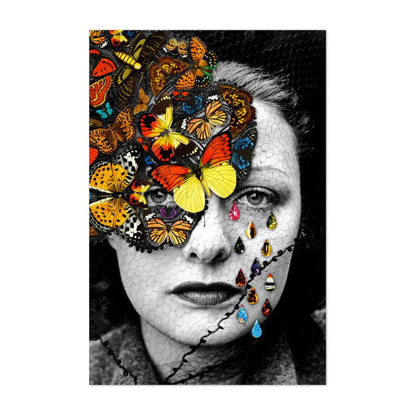 Feminine Surreal Woman Floral Butterfly Art Print