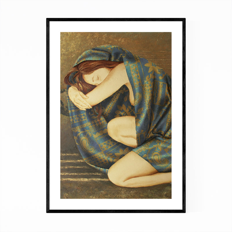 Feminine Figurative Oil Painting Framed Art Print