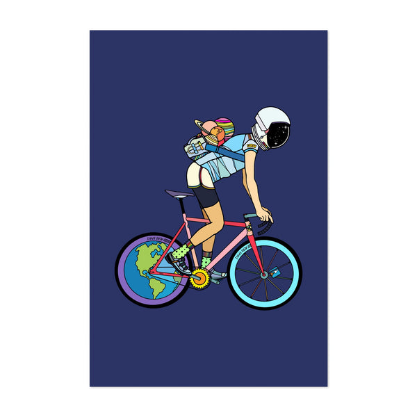 Astronaut Cycling Planets Astronomy Art Print