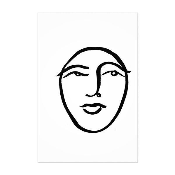 Abstract Face B&W Line Drawing Art Print