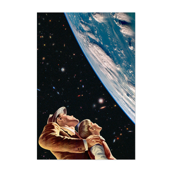 Father Son Kids Space Vintage Collage Art Print