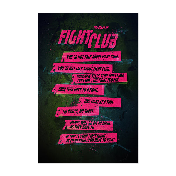 Fight Club Rules Art Print