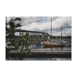 Finnsnes Harbor Boat Norway Art Print