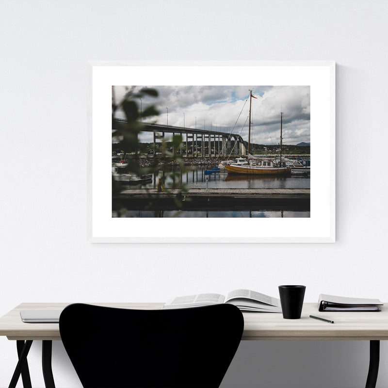 Finnsnes Harbor Boat Norway Framed Art Print