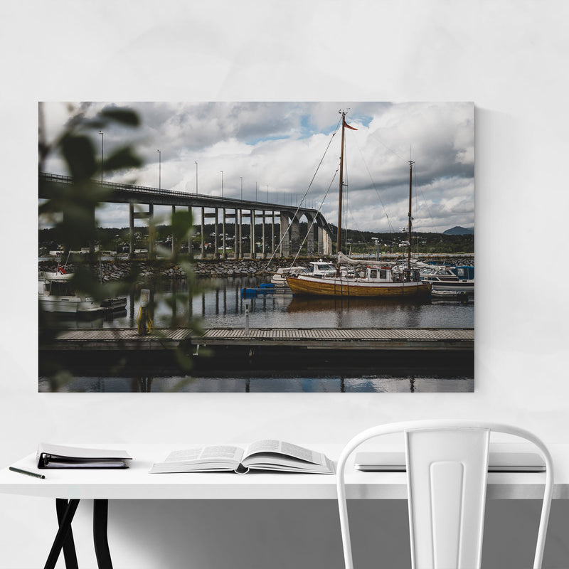 Finnsnes Harbor Boat Norway Canvas Art Print