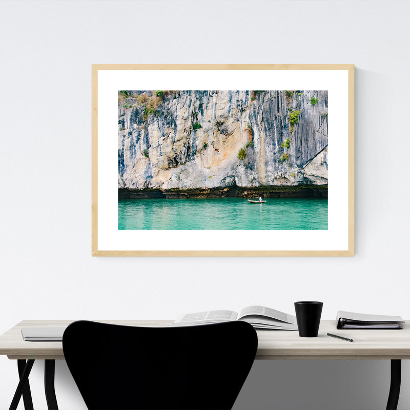 Halong Bay Vietnam Beach Boats Photo Framed Art Print