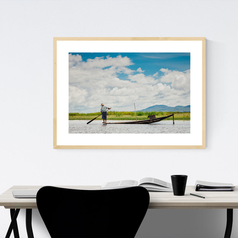 Inle Lake Myanmar Boats Photo Framed Art Print