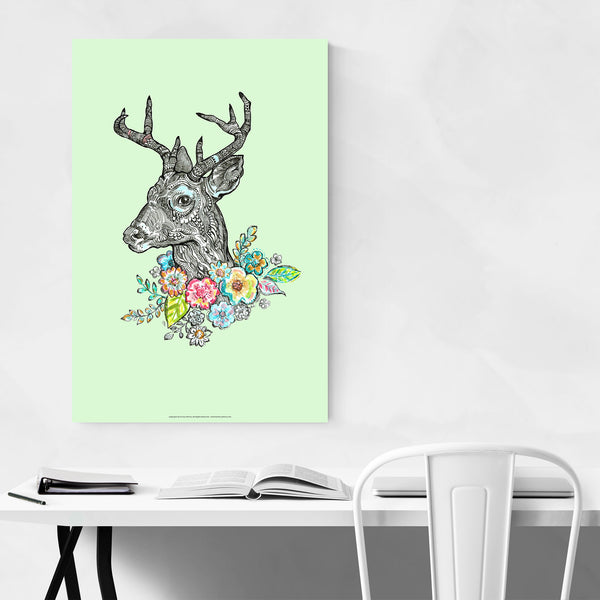 Floral Deer Animal Illustration Art Print