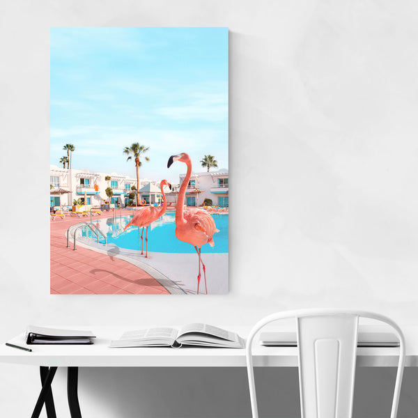 Flamingo Palm Trees Humor Art Print