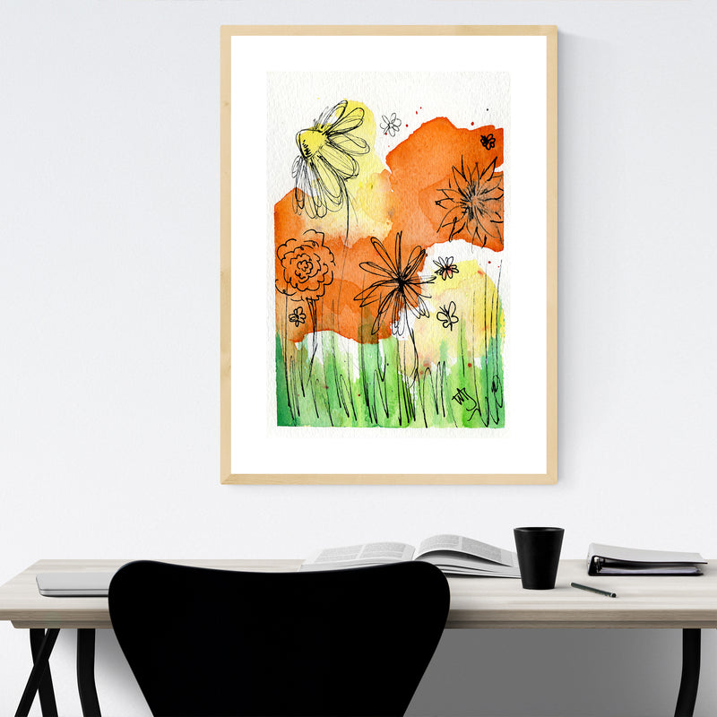 Floral Botanical Painting Framed Art Print