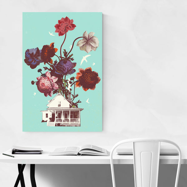 Floral Botanical Abstract Collage Art Print
