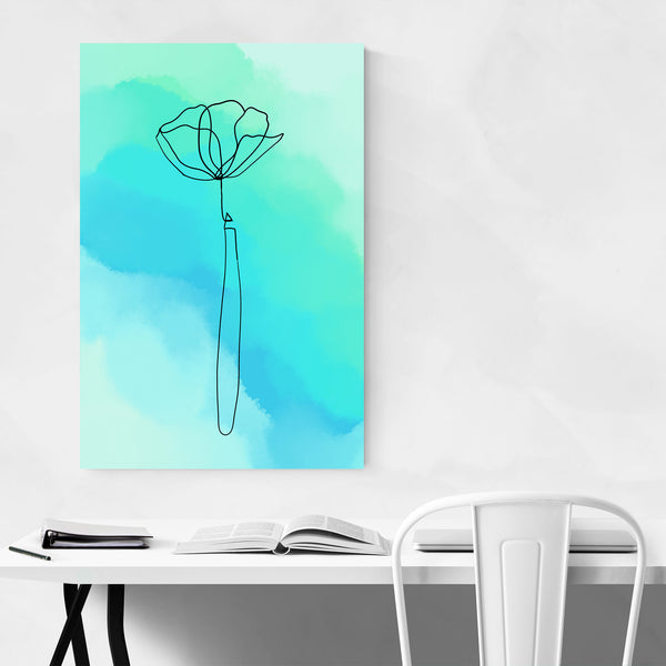 Minimal Blue Watercolor Flower Line Art Print