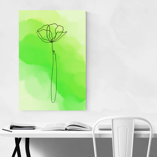 Minimal Green Watercolor Flower Art Print