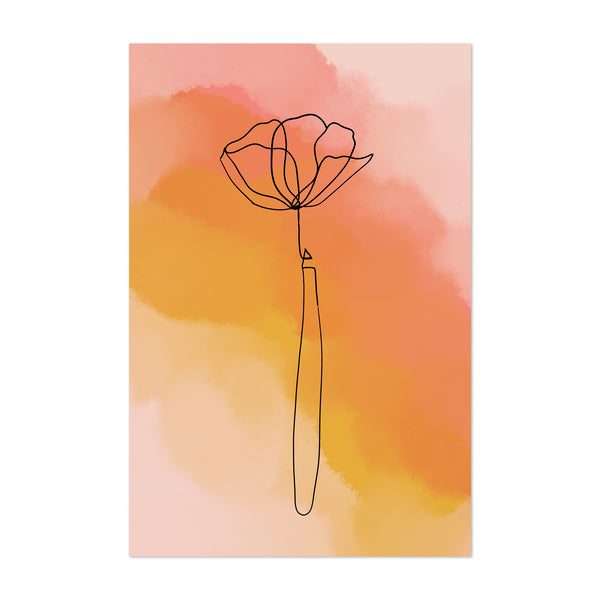 Minimal Orange Watercolor Flower Art Print