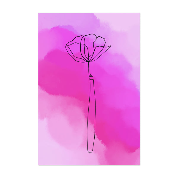 Minimal Purple Watercolor Flower Art Print