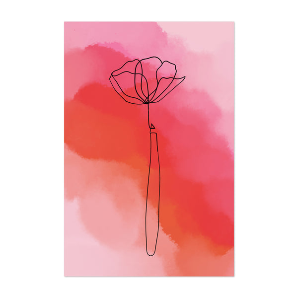 Minimal Red Watercolor Flower Line Art Print