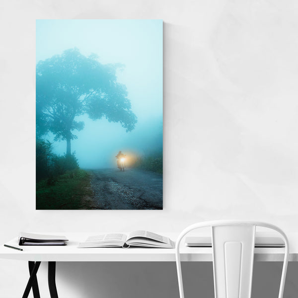 Foggy Motorcycle Nature Art Print