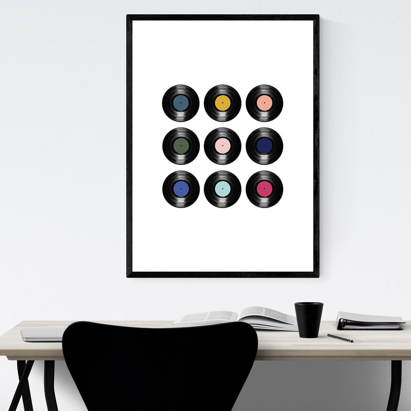 Record Vinyl Music Pattern Framed Art Print