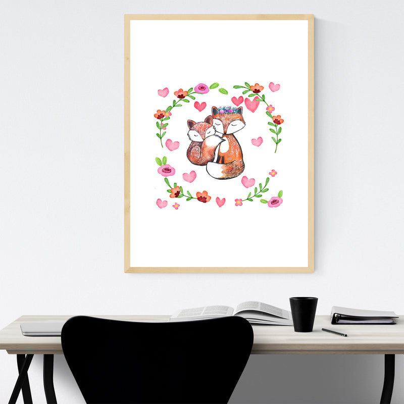 Fox Cute Animal Children's Room Framed Art Print