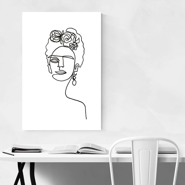 Frida Kahlo Feminine Line Drawing Art Print