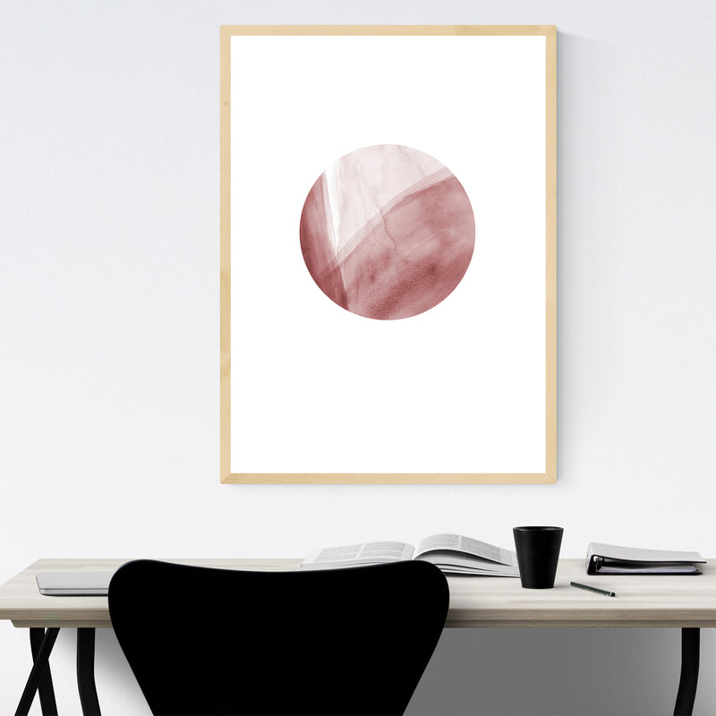 Abstract Watercolor Moon Pink Framed Art Print