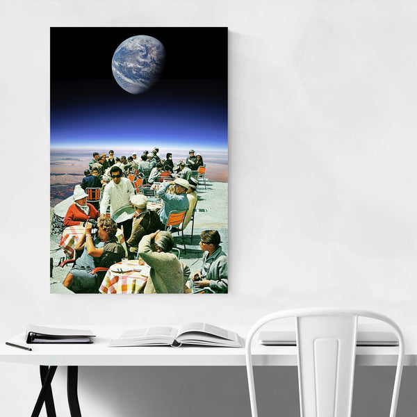 Surreal Space Restaurant Collage Art Print