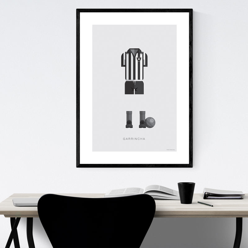 Garrincha Soccer Illustration Framed Art Print