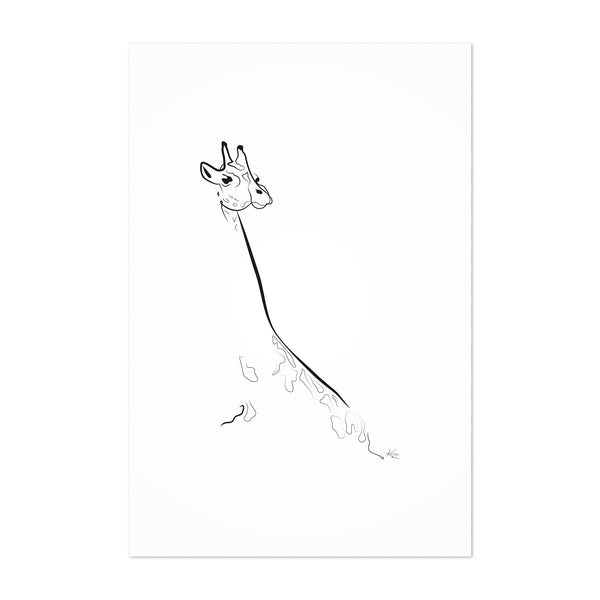 Giraffe Animal Line Drawing Art Print