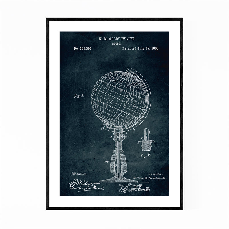 Globe World Travel Patent Print Framed Art Print