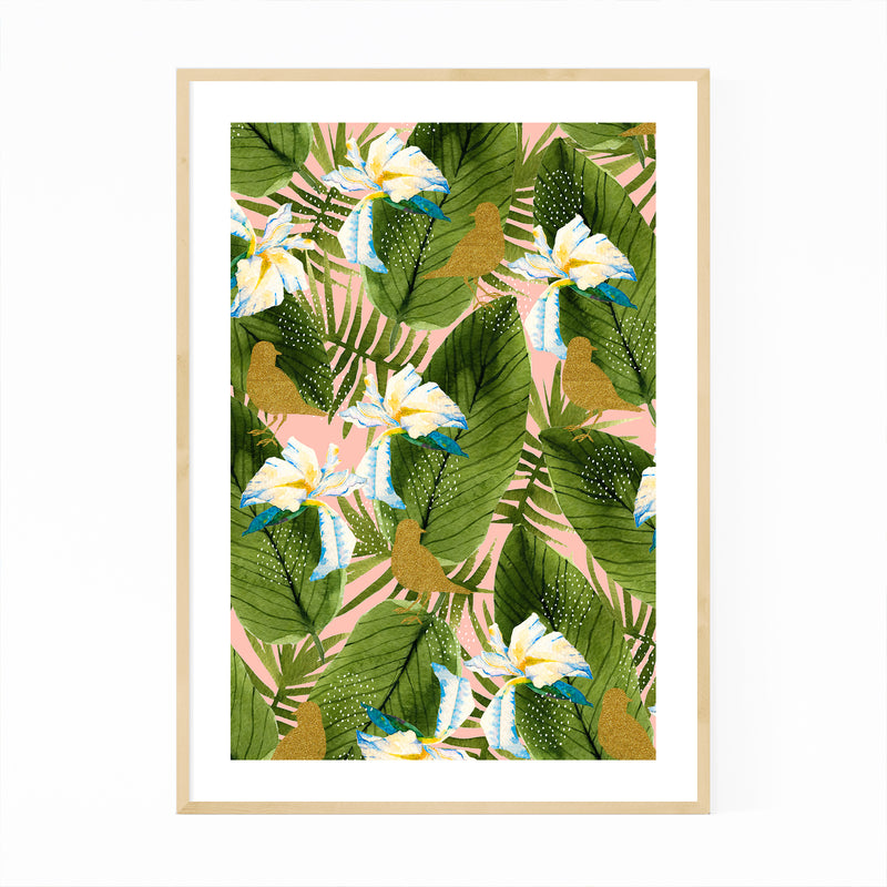 Rain Forest Botanical Pattern Framed Art Print