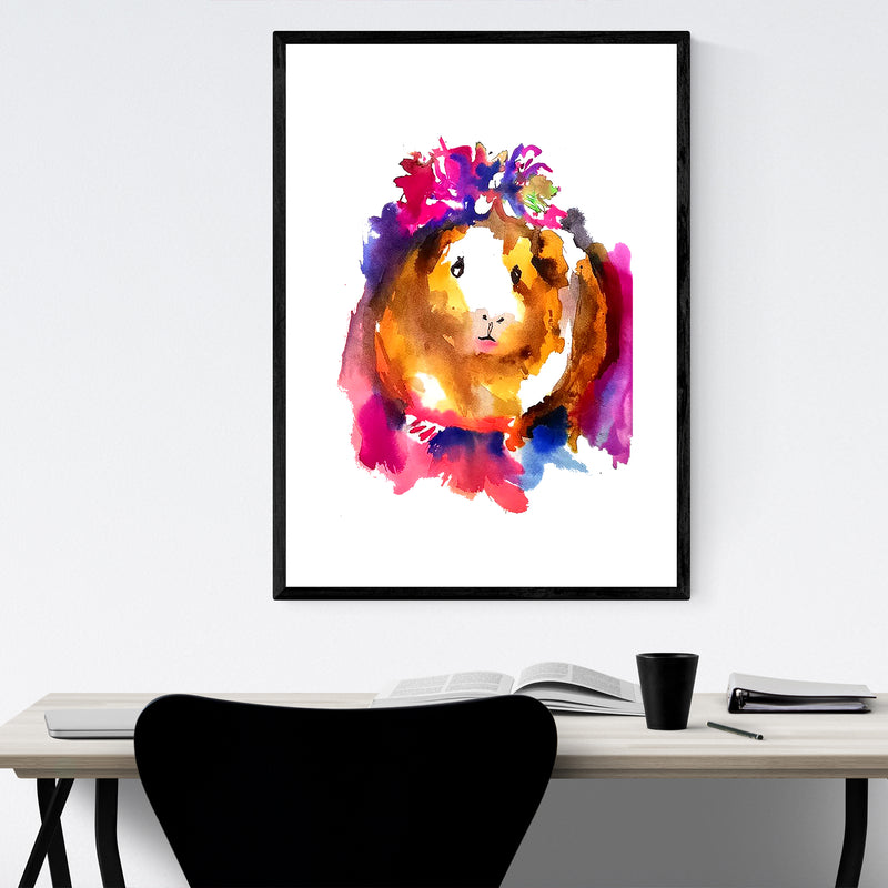 Guinea Pig Watercolor Kid's Room Framed Art Print