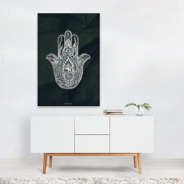 Hamsa Spiritual Line Drawing Art Print