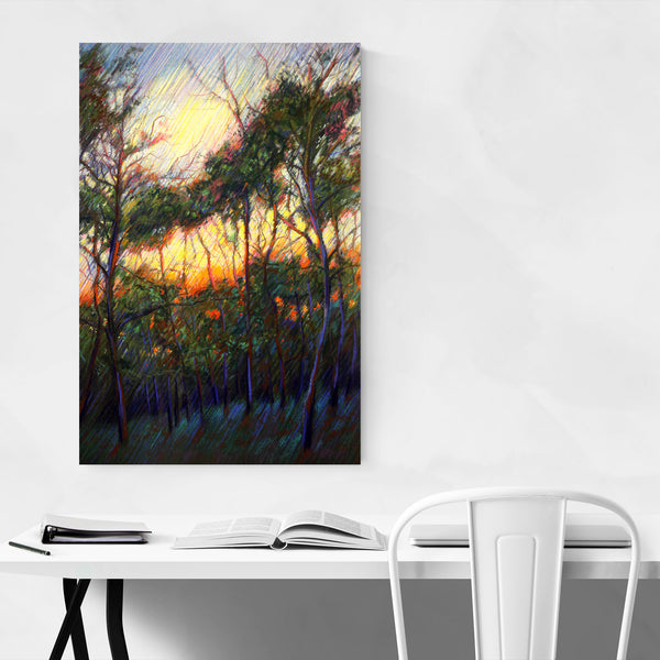 Impressionist Nature Sunset Drawing Art Print