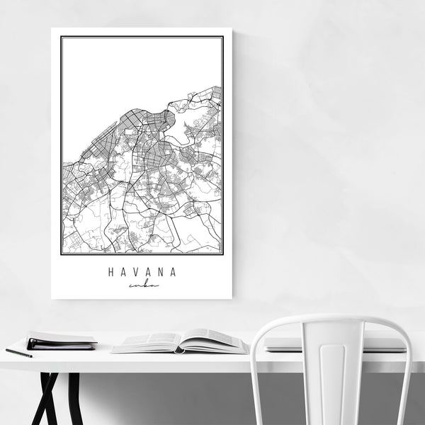 Havana Cuba City Map Art Print