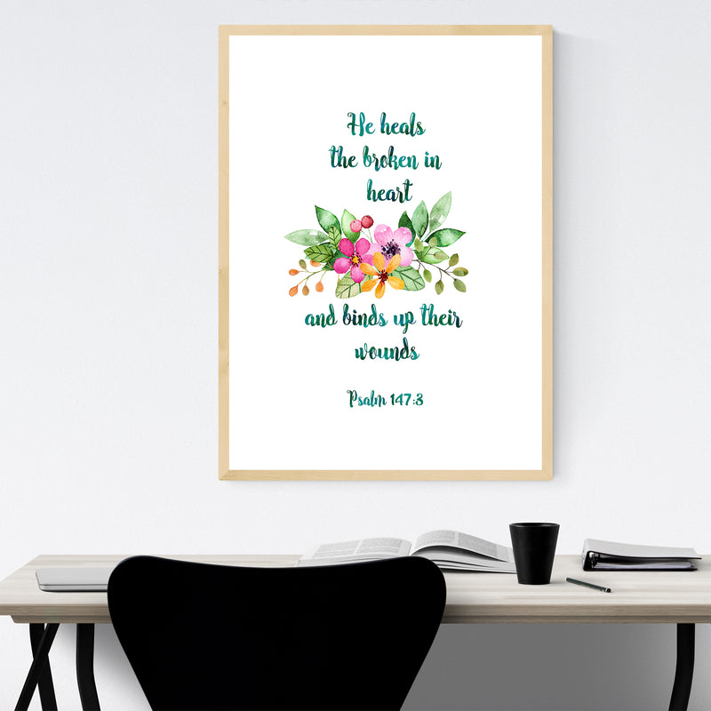 He Heals Christian Quote Framed Art Print