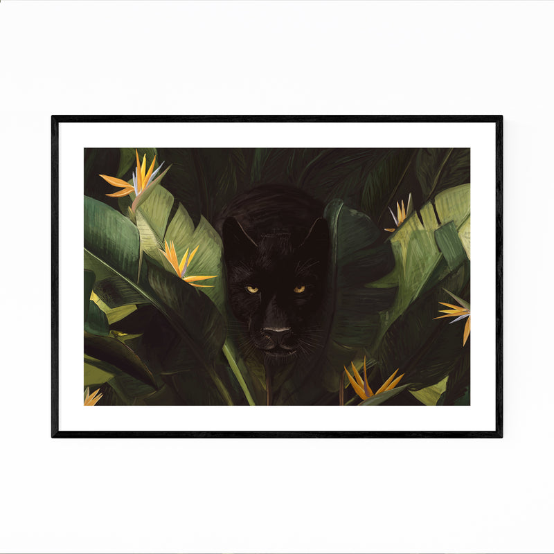 Tropical Panther Forest Animal Framed Art Print