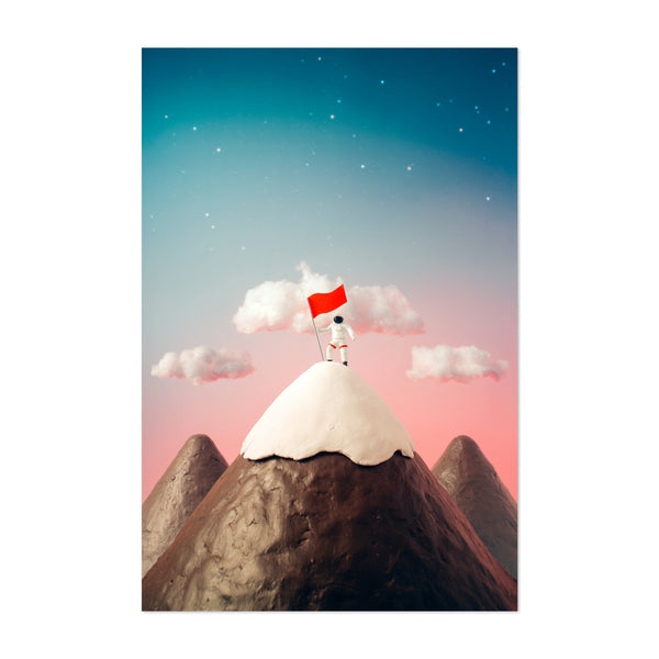 Astronaut Outer Space Kid's Room Art Print