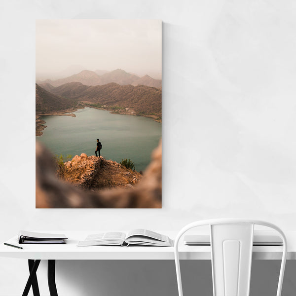 Mountains Nature Hiking Man Art Print