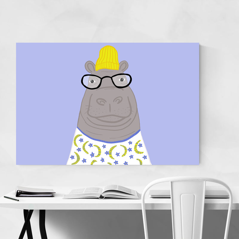 Funny Hipster Hippo Funny Animal Art Print