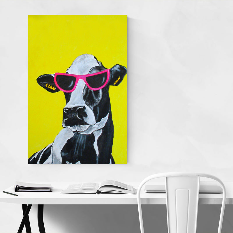 Funny Hollywood Cow Painting Art Print