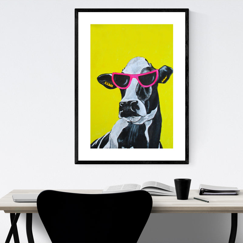 Funny Hollywood Cow Painting Framed Art Print